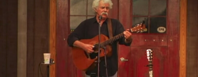 """Tom plays """"Fish Story Song"""" for adults at Fur Peace Ranch"""